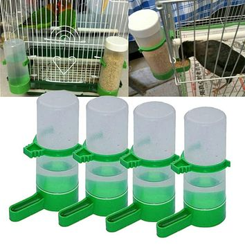 4 pieces plastic bird drinking water feeder feeder automatic pet bird parrot feeding bird cage accessories supplies