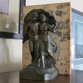 Antique Bookends - Art Nouveau Couple in Bronzed Metal, Figural Sculpture Collectible Home Decor Accessory