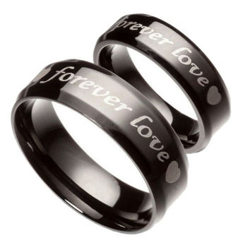 Fashion Black Pure Stainless Steel Couple Rings Forever Love Promise Wedding Ring Set (2pcs) = 1930216772