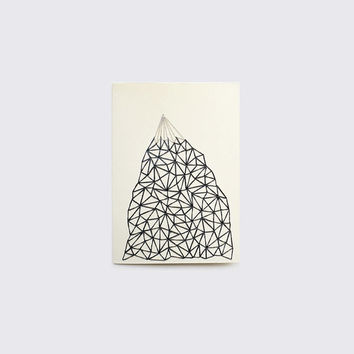 Hand Stitched MOUNTAIN Note Card with Envelope - Blank Inside