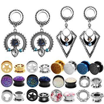 2pcs/lot Steel Gem Ear Plug Tunnel Piercing Screw Fit Expansion Ear Stretcher Fesh Tunnel Gauges Body Piercing Jewelry 6mm-16mm