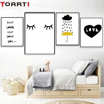 Rain Love Heart Nordic Home Decor Poster And Prints Modern Canvas Painting Modular Wall Art Murals Wall Picture For Kids Bedroom