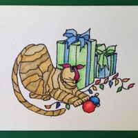 Christmas Card, Cats, Kitty Bargain #1, Original Hand Painted Card