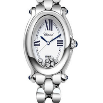 Chopard - Happy Sport - Oval - Stainless Steel - Sapphire cabochons and Diamonds