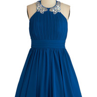 Peach to Meet You Dress in Blue