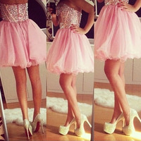 Short Pink Homecoming Dress,Crystal Homecoming Dresses
