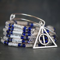 Harry Potter Ravenclaw Themed Book Bead Charm Bracelet Gift Set