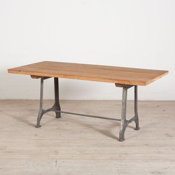 Teak and Metal Dining Table
