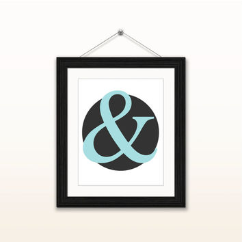 Blue ampersand - 8x10 digital download, typography poster, home decor, wall art print, instant download, printable, blue and black