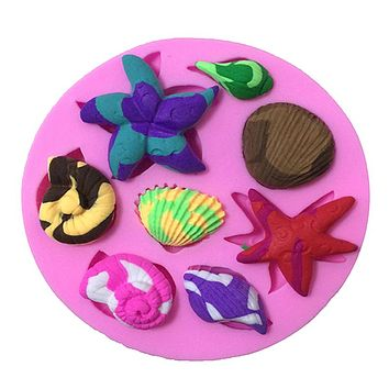 DIY Shell Conch Scallop Starfish Shape Silicone Fondant Cake Mold Chocolate Soap Mold Decorating Kitchen Baking Bakeware Tool