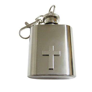 Silver Toned Classic Religious Cross 1 Oz. Stainless Steel Key Chain Flask