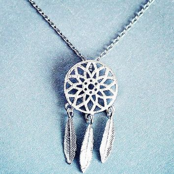 womens old silver dreamcatcher pendant necklace gift 123  number 1
