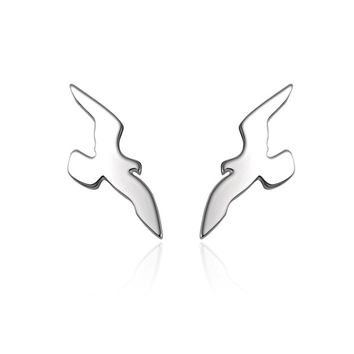 YAN & LEI Sterling Silver Vintage Swallow Birds Stud Earrings