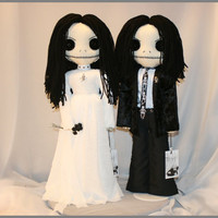 OOAK Hand Stitched Calavera Dead Bride & Groom Dolls Creepy Gothic Folk Art By Jodi Cain