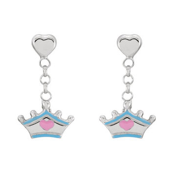 Sterling Silver Cinderella Tiara Earrings with Enamel