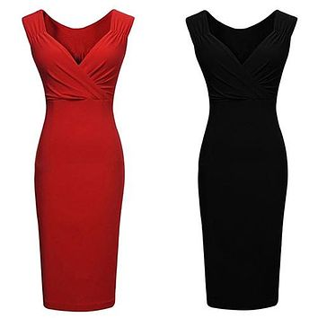 2016 Fashion New Women's Sexy V-neck Low-cut Sleeveless Bodycon Knee-length Vest Pencil Dress