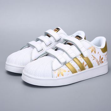 Adidas Original Superstar White Gold Velcro Toddler Kid Shoes - Best Deal Online