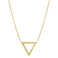 14K Yellow Gold Triangle Delta Symbol Pendant On 18 Inch Necklace