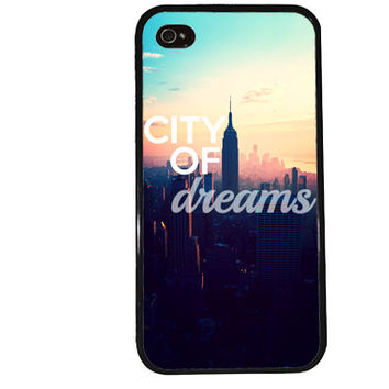 City of Dreams iPhone Case / New York City iPhone 4 Case Sunset iPhone 5 Case iPhone 4S Case iPhone 5S Case Ombre Skyline Quote Phone Case