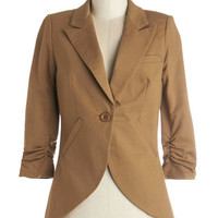 ModCloth Scholastic Mid-length 3 Fine and Sandy Blazer in Camel