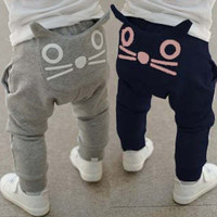 Retail 2016 new spring kids clothing boys girls harem pants 100% cotton owl trousers baby pants