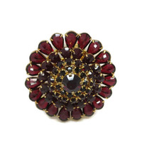 Vintage Red Austrian Crystal Flower Brooch Pin