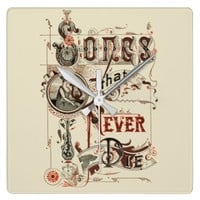 Vintage Antique Typography Music Songs Harp Square Wall Clock