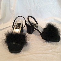 Vintage Black Feather Boa Satin Dress Sandals-US Size 6 Glamorous 1940s Ladies