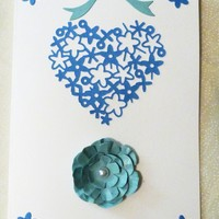 Blue Filigree Heart on White Love You Card, 5