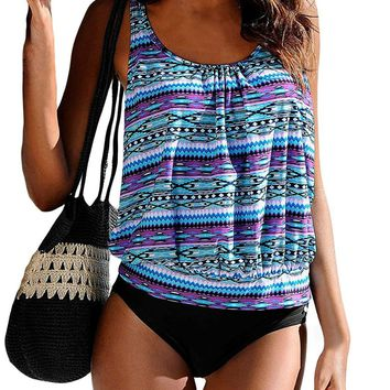 Happy Sailed Women Push up Padded Printed Sporty Tankini Swimsuits Bathing Suit, Small Purple