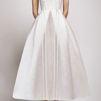 The Logan Silk Duchess Eyelet V-Neck Midi Dress | Moda Operandi