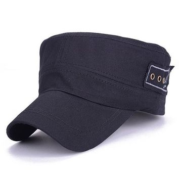 8ed76562ddb Sports Hat Cap trendy New Summer Solid Unisex Flat Roof Hat for Men Cadet  Patrol Bush