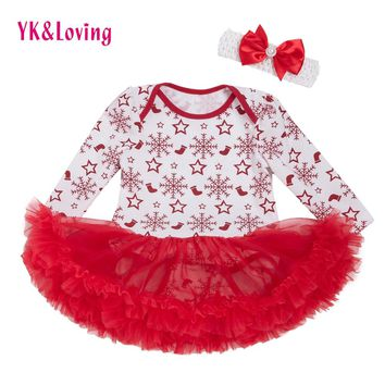 Newborn Girls Bodysuit Dress 2017 Christmas Cotton 0-2 Years Baby Girl Clothing Bodysuit New Spring Winter Toddler Tutu Outfits