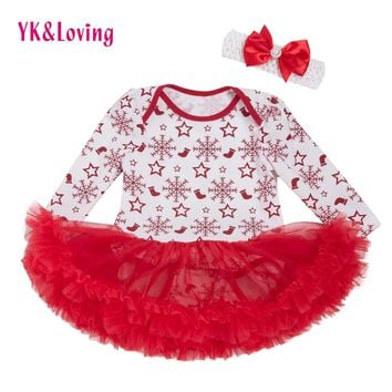 YK&Loving Newborn Girls Bodysuit Dress Christmas Cotton 0-2 Years Baby Clothing Bodysuit New Spring Winter Toddler Tutu Outfits