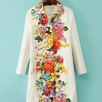 White Floral Print Collar Long Sleeve Dress Coat