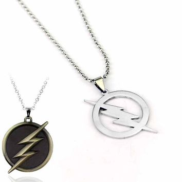 Cool Super Hero the Flash necklace Lightning Logo Leather Chain Alloy Pendant Charm Necklace Men Women's Gift Movie Jewelry
