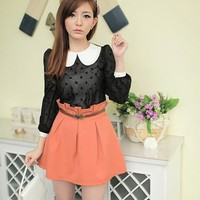 Women Polyester High Waist Orange Shirt Fitting Dress S/M/L@MF5153o