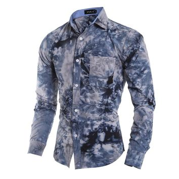 Brand 2017 Men'S Fashion Chemise Homme Multi-Style Tie-Dye Chemise Homme Slim Fit Men Shirt Casual Camisa Masculina XXL GDNKS
