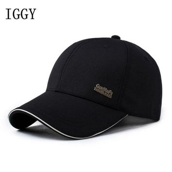 Trendy Winter Jacket IGGY Mens Spring Adjustable Cotton Fitted Baseball Caps Male Simple Black Formal Snapback Dad Hat Fashion Breathable Truck Hats AT_92_12