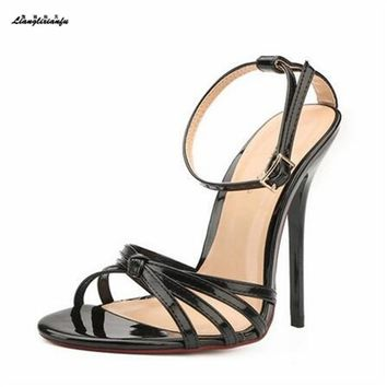 LLXF Plus:45 46 47 48 49 50 wholesale summer Narrow Band 13cm high-heeled women shoes Patent Leather Pumps lady Buckle sandals