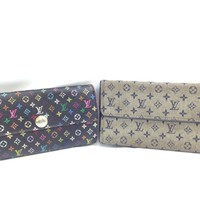 Auth Louis Vuitton Multi Color & Monogram Mini Long Wallet