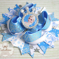 Frozen Hair bow - Big hair bow - OTT hair bow - Boutique hair bow - Disney Princess bow - Frozen Birthday - Frozen Elsa Favor