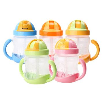 280ml Cute Kids Baby Bottle Cup Children Learn Feeding Drinking Water Straw Handle Bottle School Baby Drinking Bottle Drinker