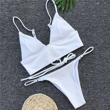 16d8ee8299 Bikini Set beach body White Womens Swimsuits 2018 Summer Sexy Bi