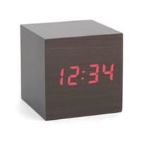 KIKKERLAND ALARM CLOCK WOOD CUBE DARK