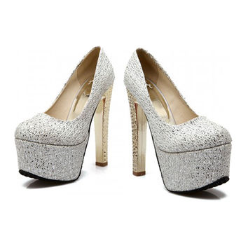 Super High Wedding Shoes Bridal Plus Size Night Club T Stage  silver