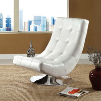 A.M.B. Furniture & Design :: Living room furniture :: Accent chairs :: Trinidad contemporary style white leather like vinyl hammock style tufted swivel scoop chair with chrome base