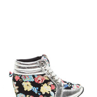 Petal Pusher Floral Sneaker Wedges