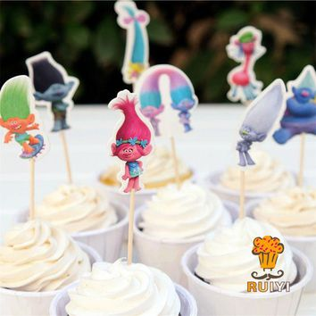 DKF4S 24pcs Cartoon Trolls Poppy DJ Suki Guy Diamond Branch candy bar cupcake toppers pick baby shower kids birthday party supplies