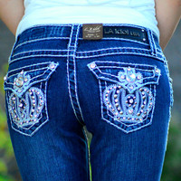 L.A. IDOL BLING CROWN BOOTCUT JEANS